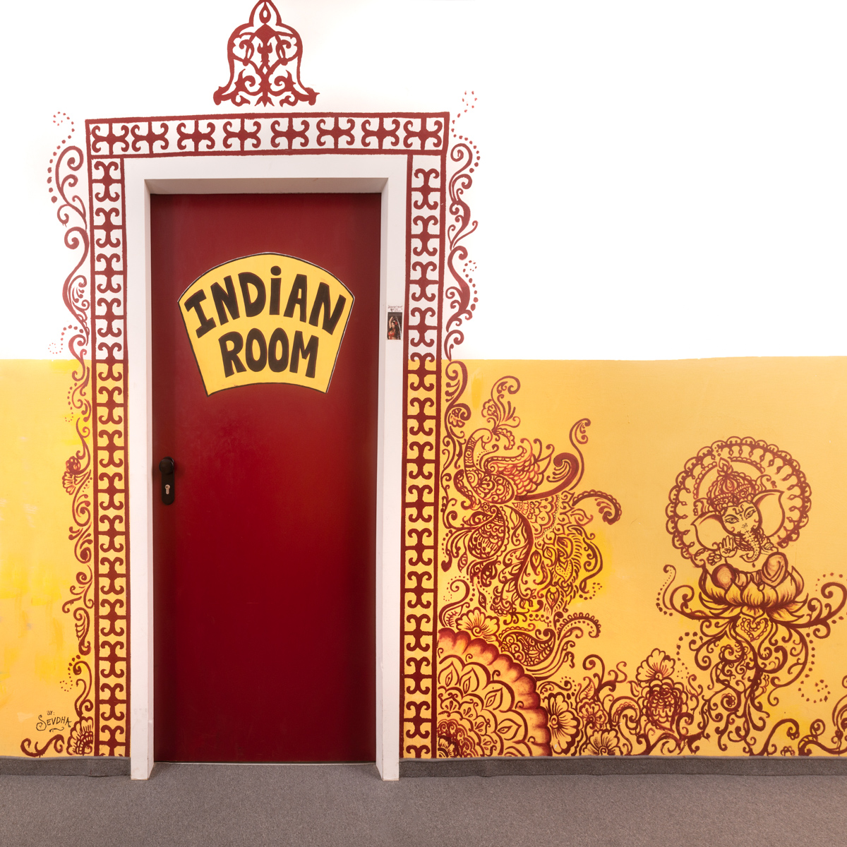 The Indian room door with painting